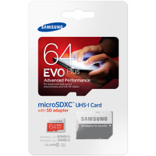 Samsung Micro SDHC Card 64GB EVO Plus Class10 UHS-I,  w/adapter